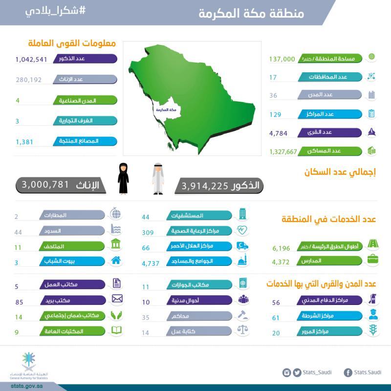 معلومات عامة عن مناطق المملكة العربية السعودية الهيئة العامة للإحصاء
